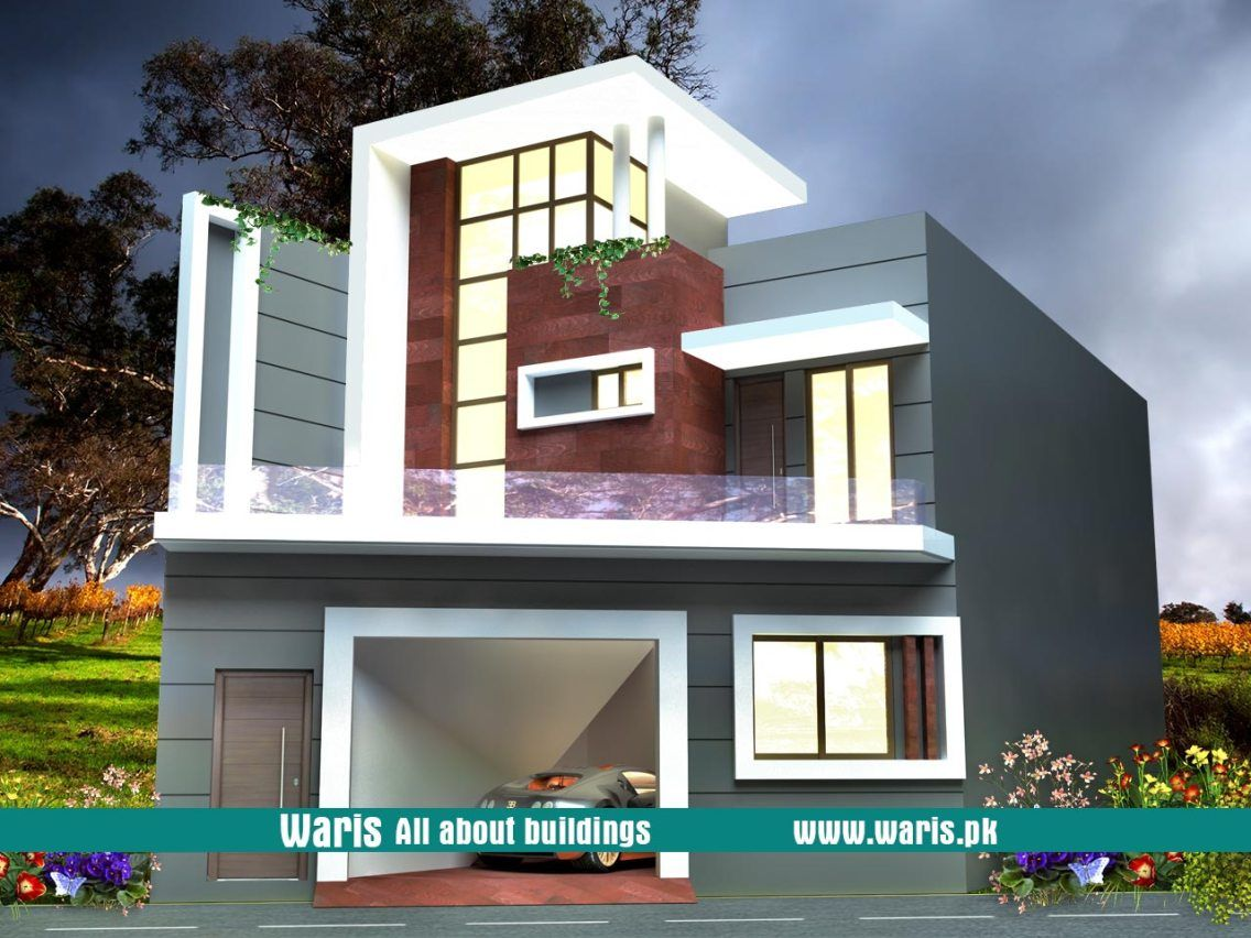 Waris House 3d View Elevation 30x45 In Gujranwala Cantt Pakistan Small House Design Duplex House Design Bungalow Design