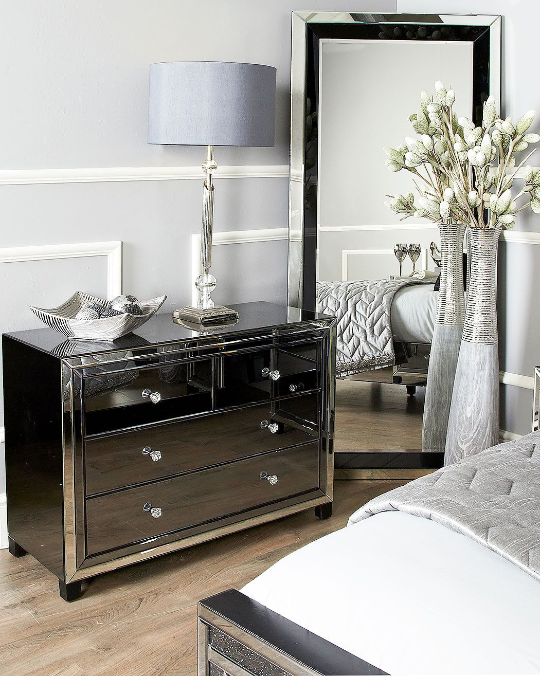 Large Arctic Noir Black Smoked Glass Mirrored 4 Drawer Chest Of Drawer Picture Perfect Home Glass Bedroom Furniture Mirrored Bedroom Furniture Silver Bedroom Furniture