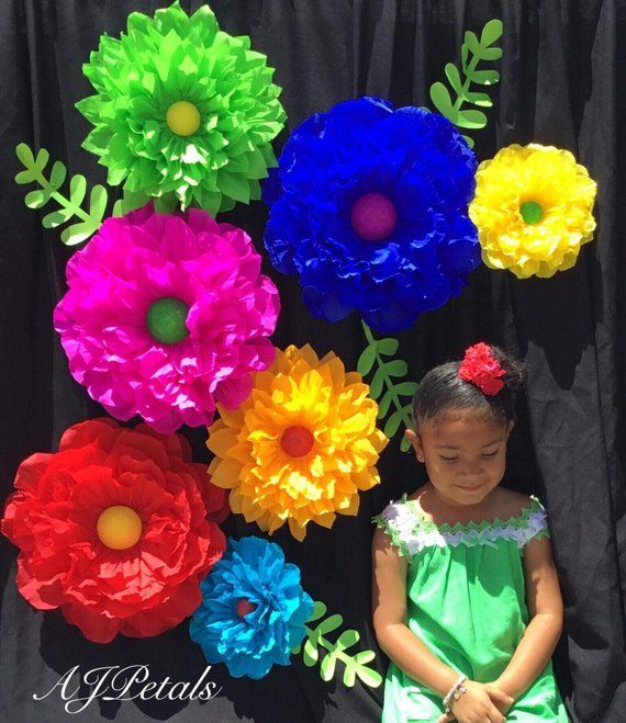Cinco de Mayo Paper Flower Backdrop,Large paper flowers,mexican wedding,crepe paper flowers,Fiesta decorations,Party decorations is part of Fiesta decorations - Mexican themed party   PLEASE ALLOW 10 business days for production   7 Crepe paper flowers and 4 Leaves 3 Large 14 inches 2 Medium 11 inches 2 small 8 inches Colors