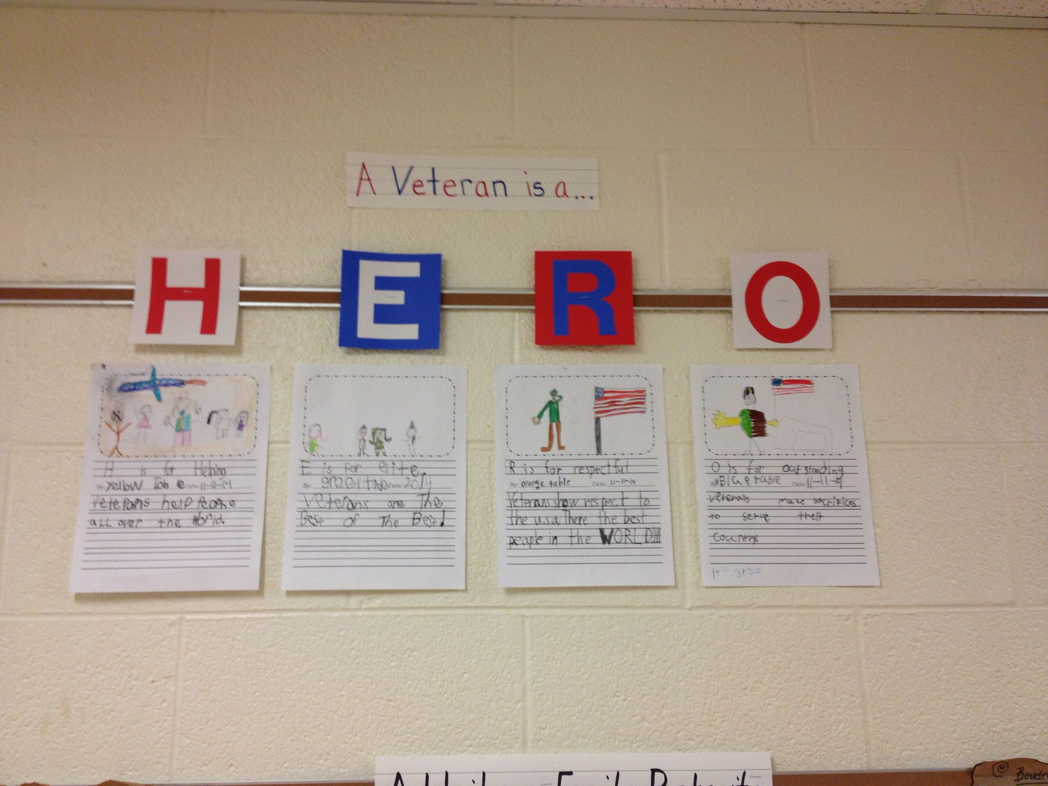 Veteran S Day Acrostic By First Grade Table Groups