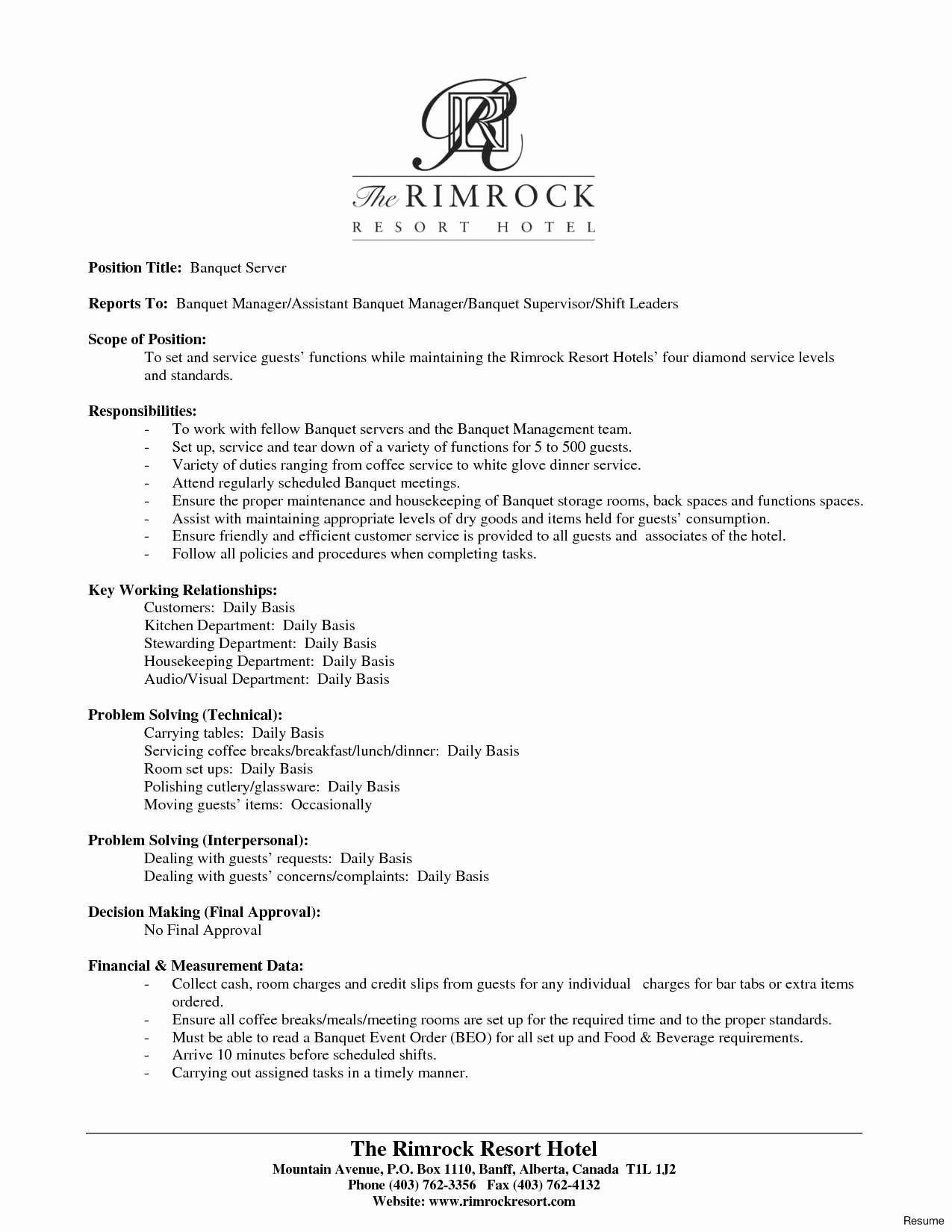 54 New Image Of Sample Resume For Restaurant Crew