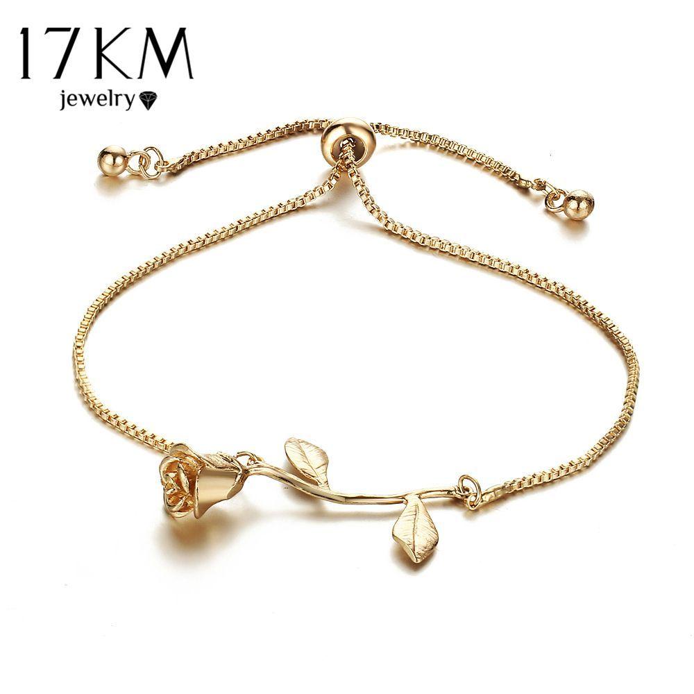 Km fashion rose flower charm bracelet for women girl bracelet