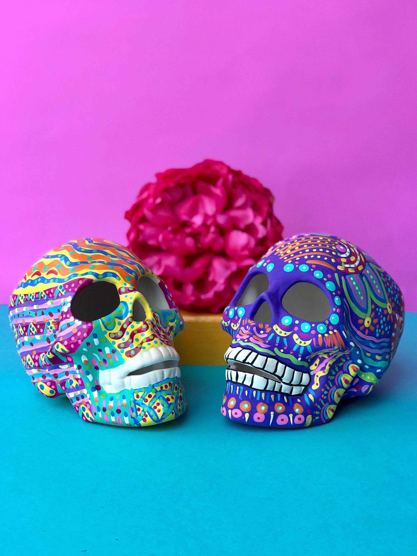 Hand Painted Skull Ceramic Skull Day Of The Dead Halloween Etsy In 2020 Skull Painting Sugar Skull Diy Skull