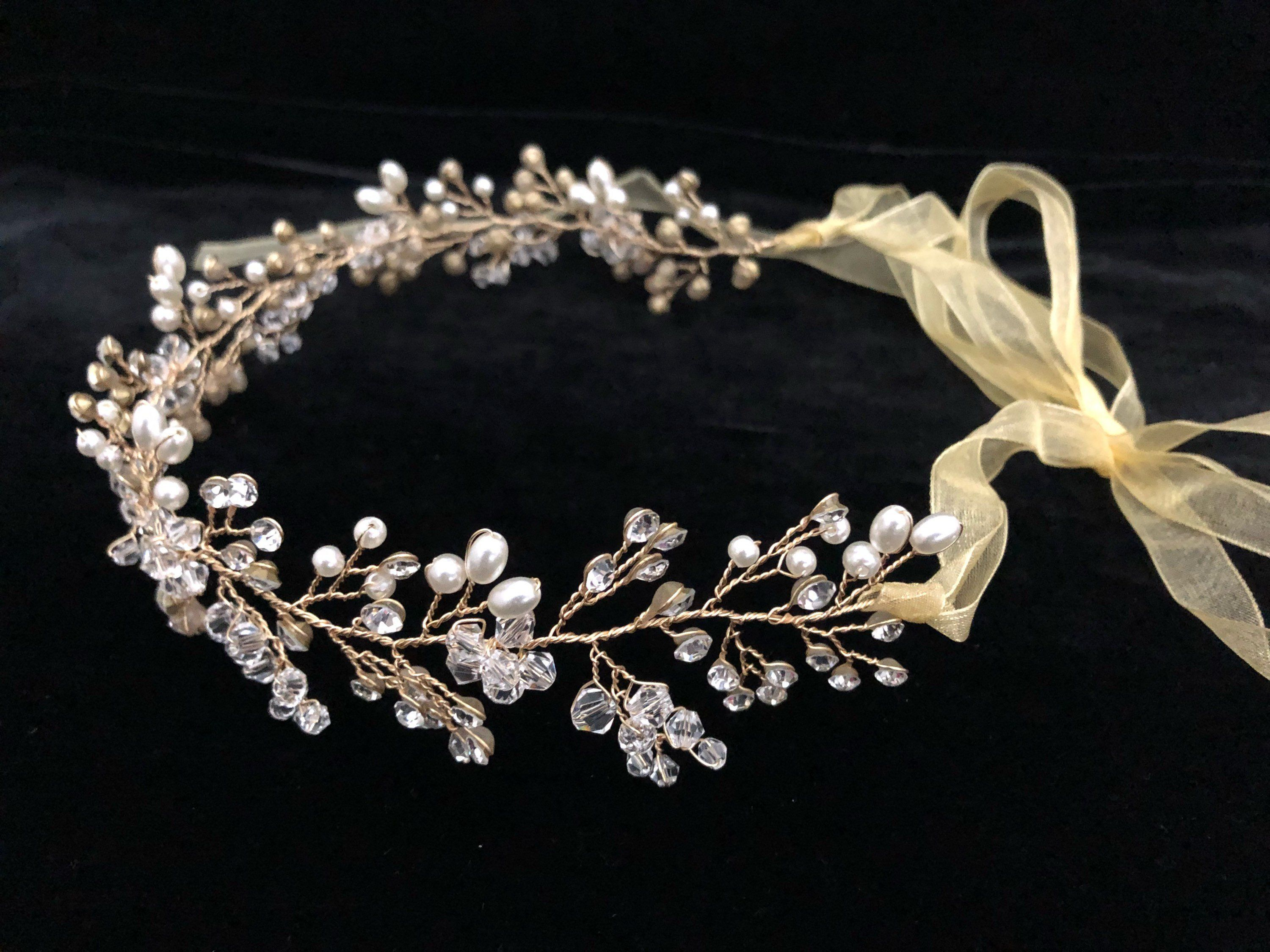 White Luxury Pearls Rhinestones Flower Girls/' Crown Tiara Headpiece Headdress