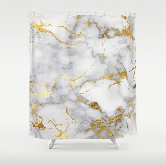 Our Marble Shower Curtain In Shades Of Gray And Faux Gold Foil Adds Some Chic To Your Bathroom Decor P Cool Shower Curtains Gold Shower Curtain Marble Showers