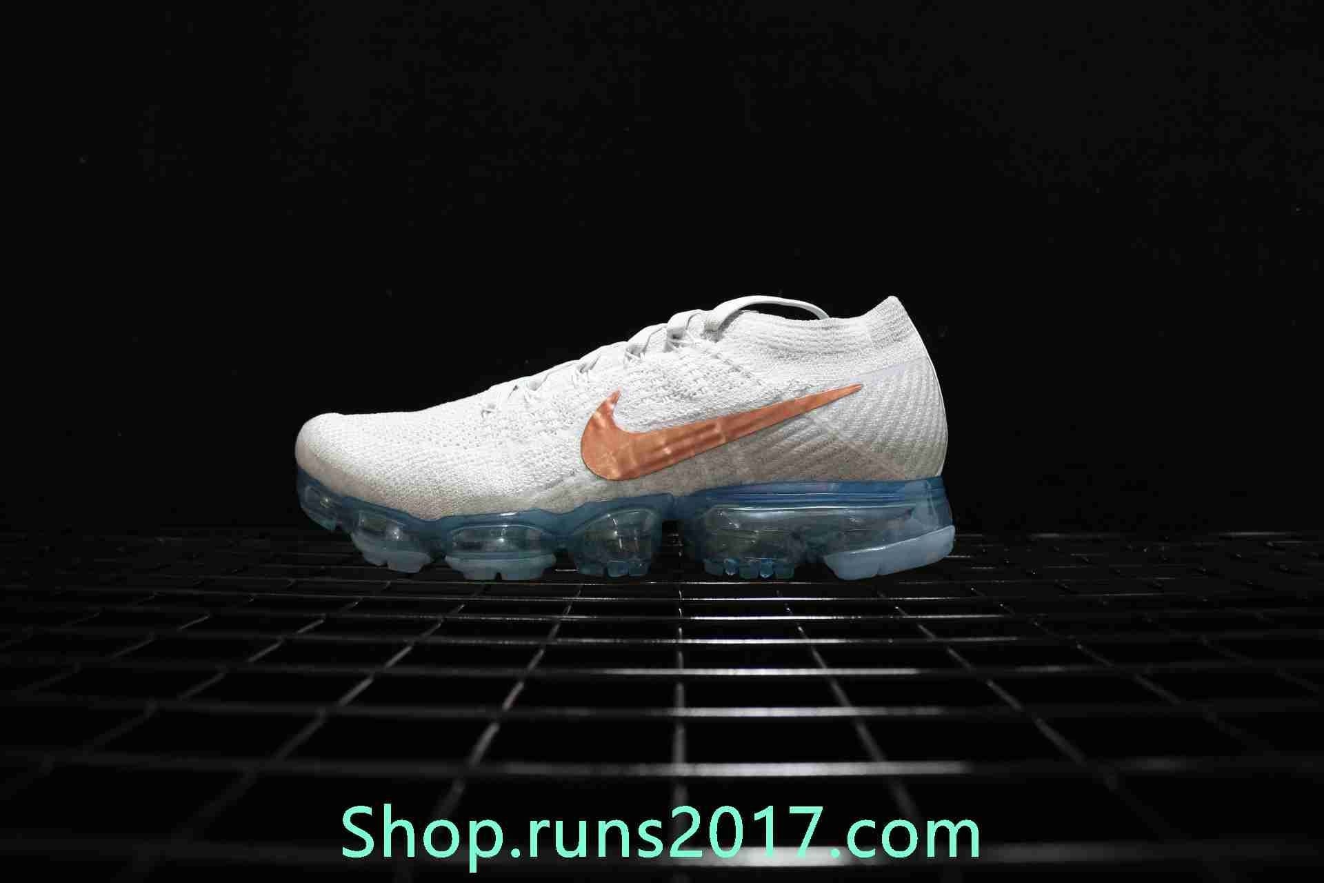 814e6a225729 New Nike Air VaporMax 2018 Flyknit White Gold Tick Women Men ...