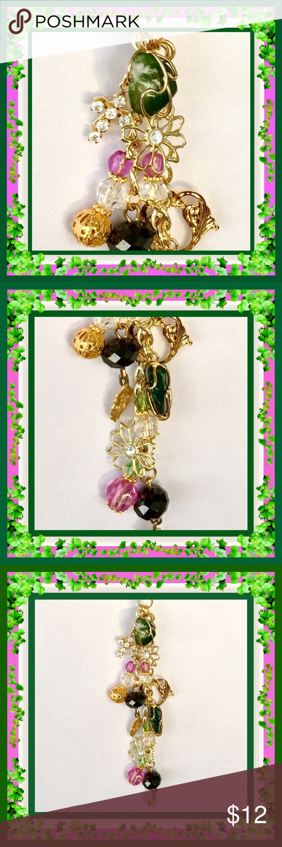 🌺🌴🌺 HANDMADE KEY CHAIN 🌺🌴🌺 🌺🌴🌺 This handmade gold key chain can be used in many ways other than for keys.  Makes a great accessory on a handbag, a back pack pull, a fan pull, even a decoration when not in use.  There are gold charms, lavender, crystal and green beads, plus a gold cross charm with pink rhinestones.  One of a kind. 🌺🌴🌺 Jewelry