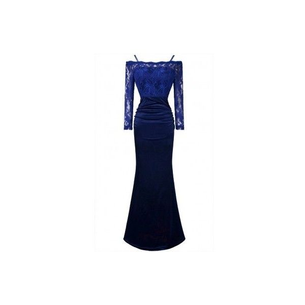 Blue Lace Gown (€140) ❤ liked on Polyvore featuring dresses, gowns, blue dress, blue lace dress, blue evening dresses, blue gown and blue ball gown