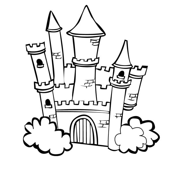 Medieval Castle With Bush On The Side Coloring Page Kids Play Color Castle Coloring Page Coloring Pages Castle Cartoon