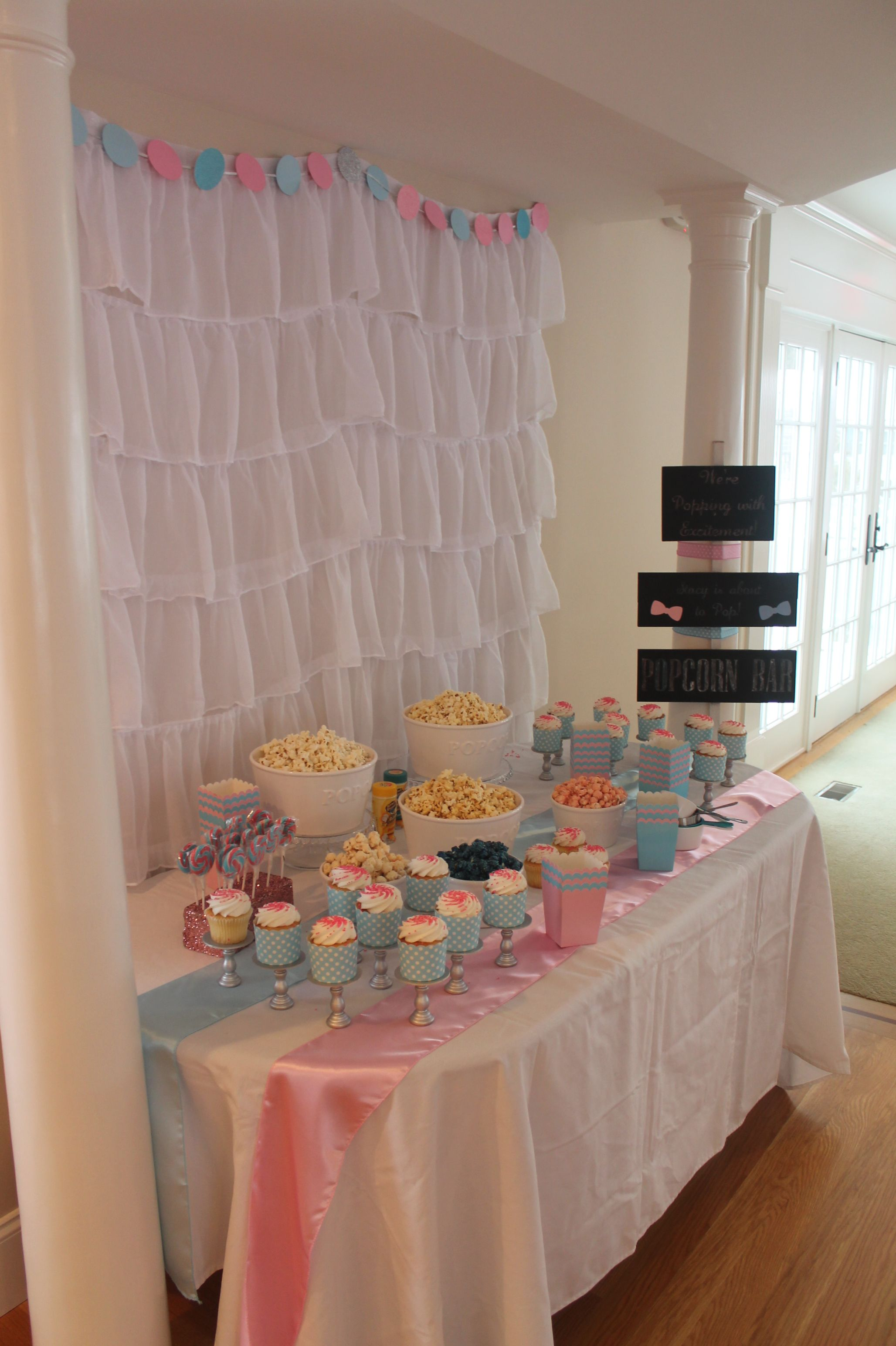 Bows Or Bow Ties Baby Shower Pink And Blue Popcorn Bar Bows Or