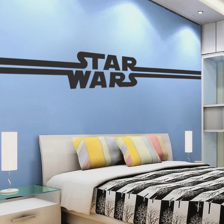 Star Wars Logo Wall Decal Design Kids Room Wall Decor The Last Jedi Starwars Wall Mural A89 In 2020 Star Wars Bedroom Star Wars Room Star Wars Wall Decal