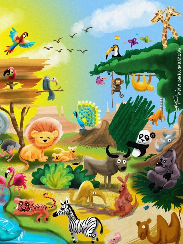 Earth Day Animal Kingdom Cartoon Cartoon Animals Website Template Design Template Free