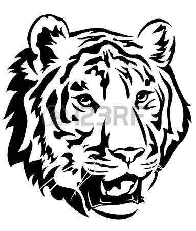 Tiger Head Emblem Design Big Cat Black And White Vector Outline Tiger Silhouette Tiger Face Big Cats