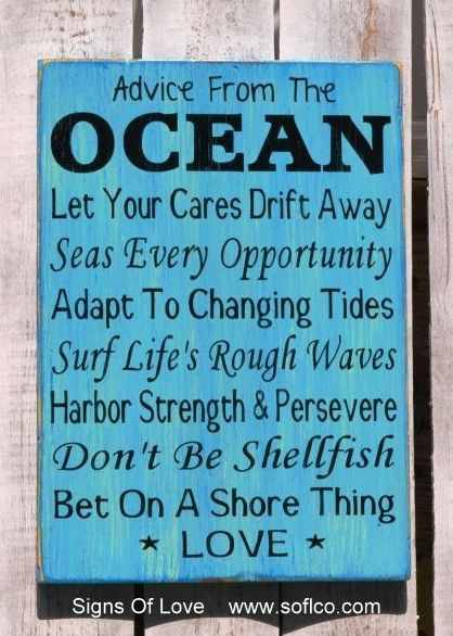 Beach Sign Wedding Advice From The Ocean Love Wood Signs Aqua Blue Mint Green House Decor Nautical Theme Coastal Cottage Life Living Quote