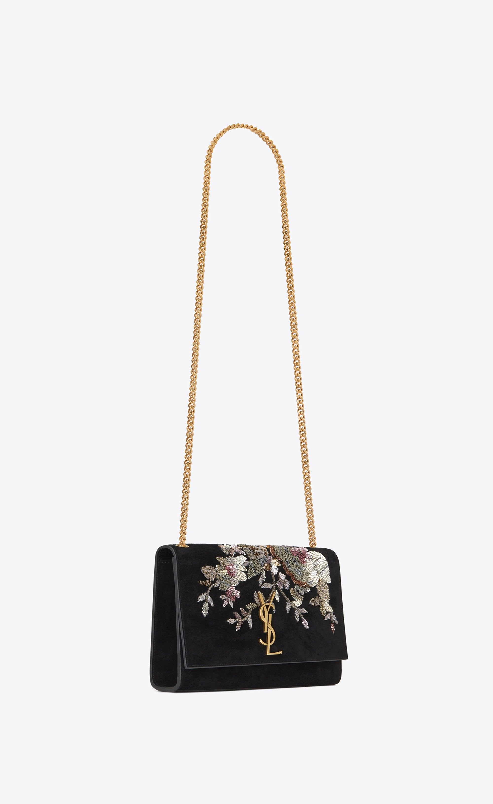 a2459e13f2 Saint Laurent Medium KATE Chain Bag In Black Suede Embroidered With Sequins  And Multicolored Crystals