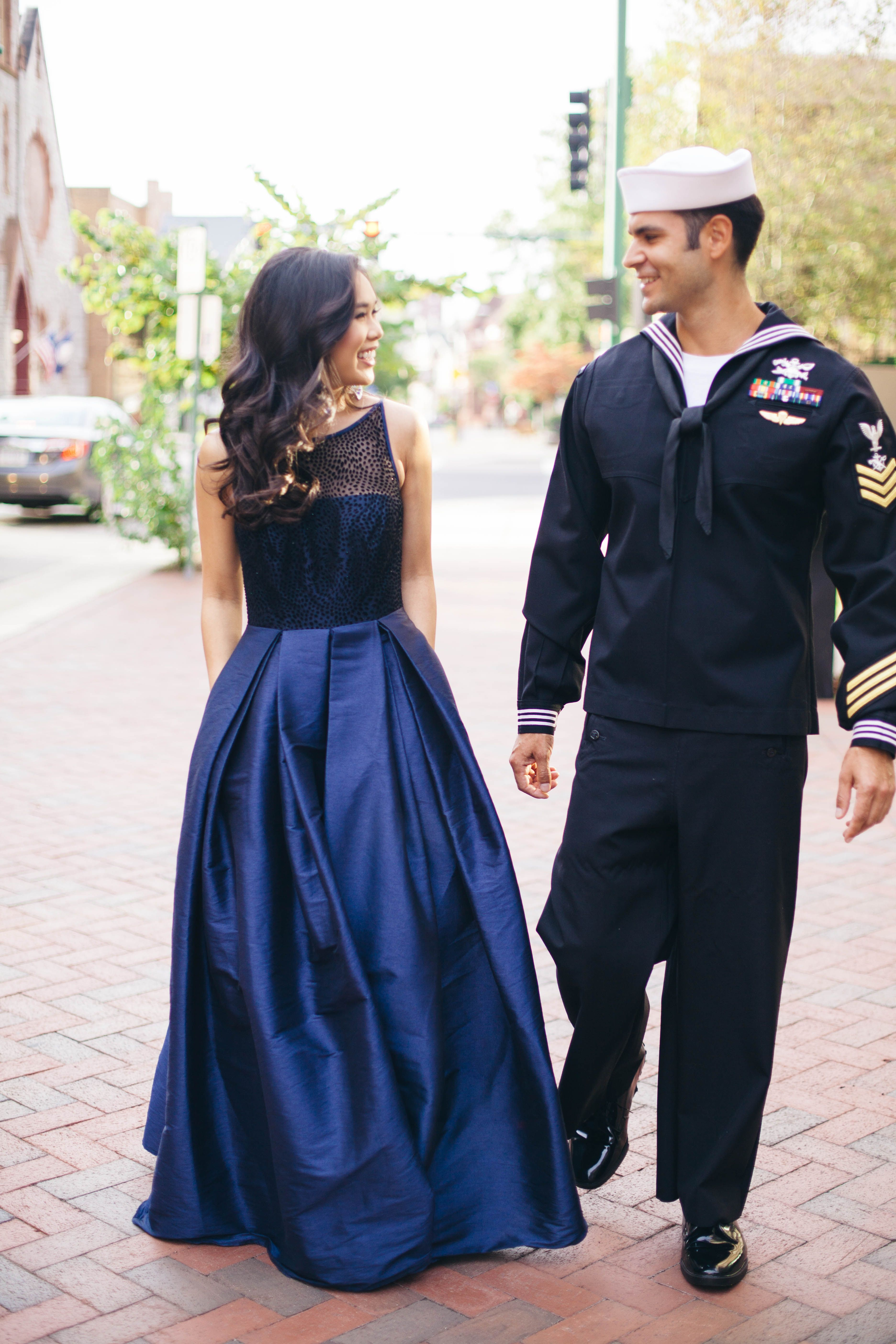 A navy ballgown with pockets is perfect to wear to a