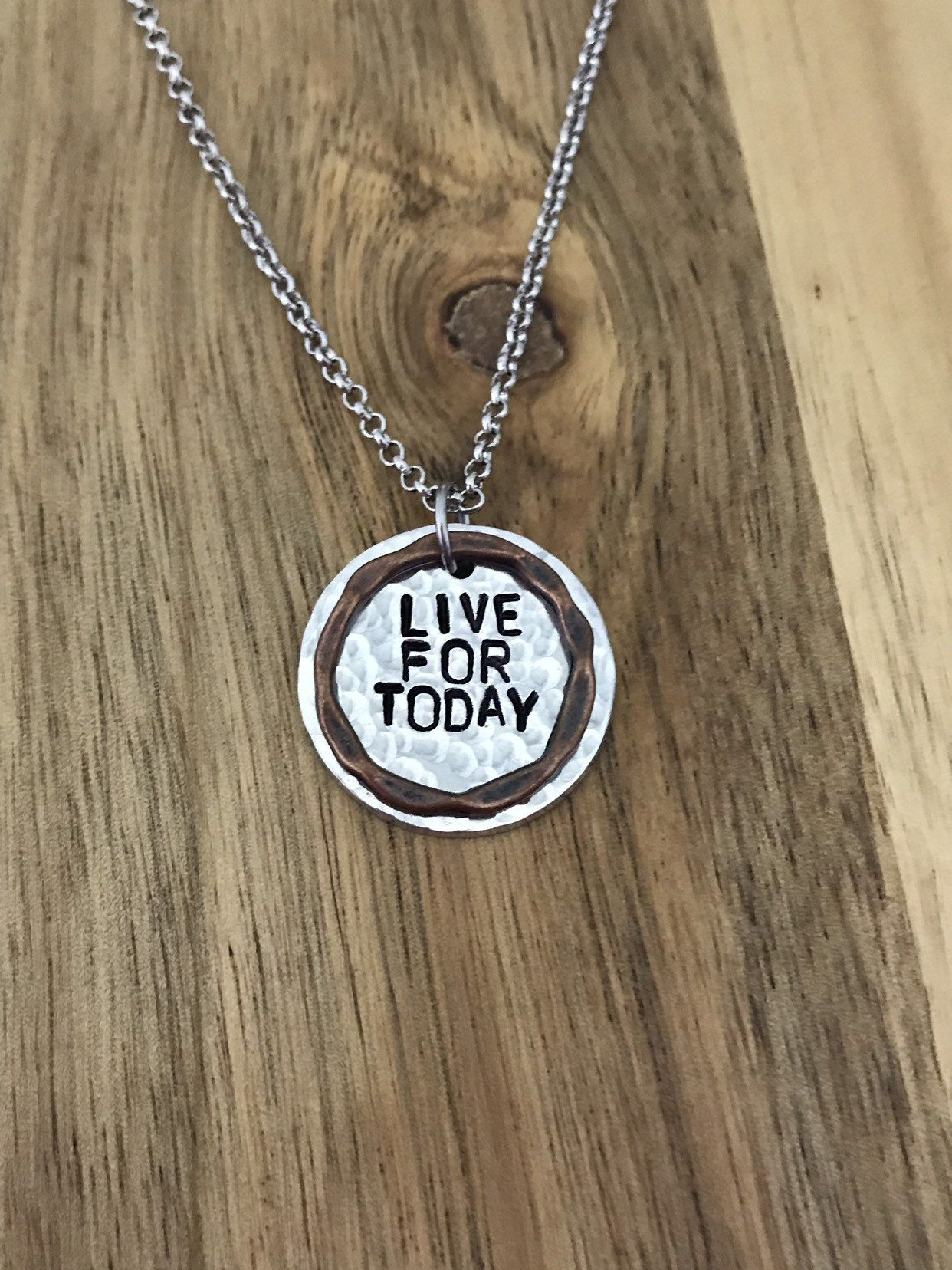 Live For Today Necklace Jewelry Gift Hammered Layered