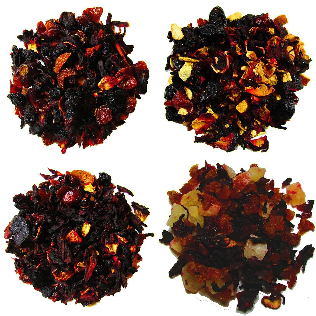 Sweet, sour, and tangy are all brought together in this sampler. Rich in fruits, berries, and herbs, these four will make your taste buds jump! #fruittea