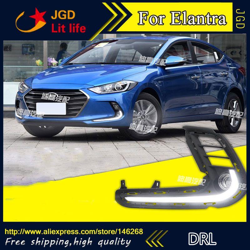 Free Shipping 12v 6000k Led Drl Daytime Running Light For Hyundai Elantra 2016 2017 Fog Lamp Frame Fog Light Hyundai Elantra Elantra Running Lights