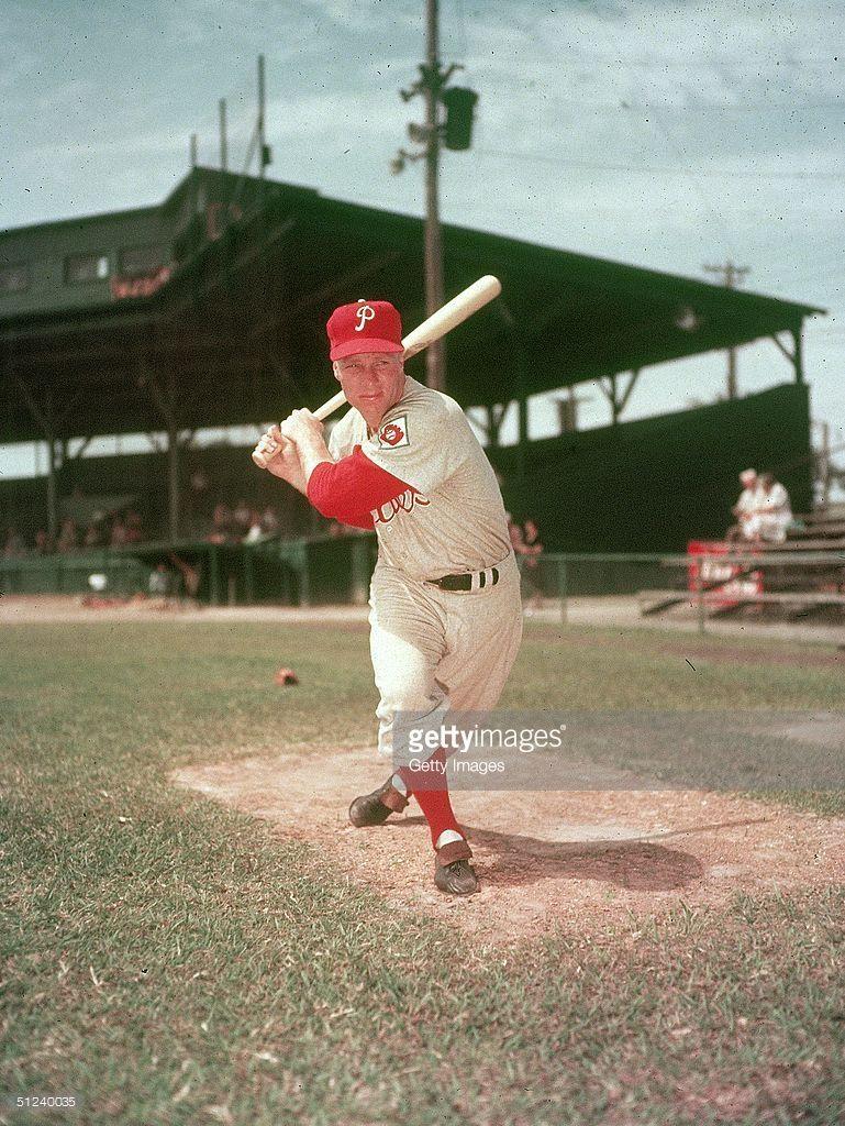 Circa 1955 American Baseball Player Richie Ashburn Posing With A Bat Phillies Baseball Baseball Players Philadelphia Phillies Baseball