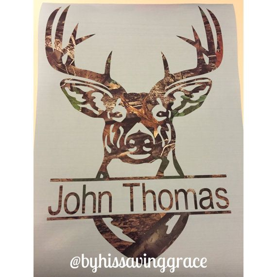 Deer Head With Name In Camo Split Decal Guy By