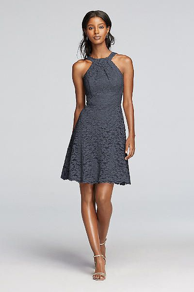 Finery in lace! Short All Over Lace Dress with Y Neck F19047 ...
