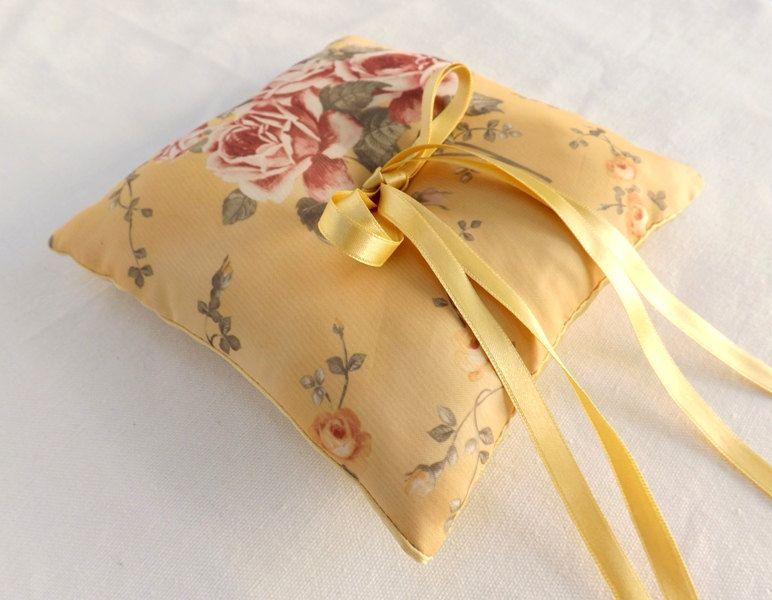 Gold floral ring bearer gold wedding ring pillow rose