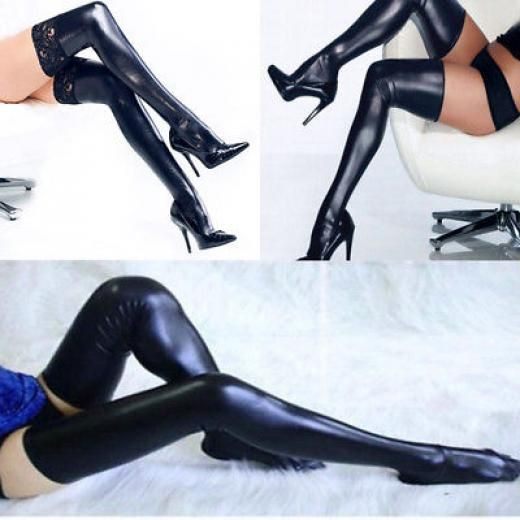 3cf276d46fd Womens Ladies Sexy Pu Leather Over Knee Long Thigh High Stockings Wet Look  Socks Regular Polyurethane China 1 Pair Of Free One Size