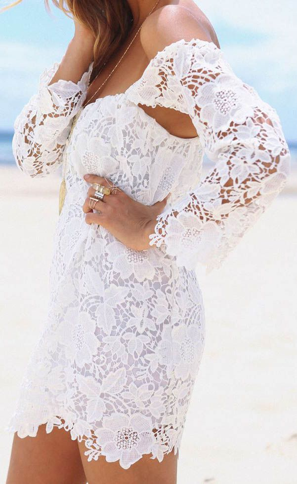 love this white lace dress so much!