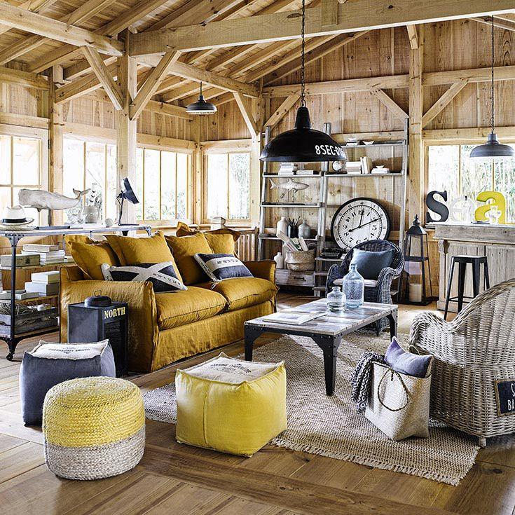 living - coastal / salon - bord de mer - bois - beige - jaune