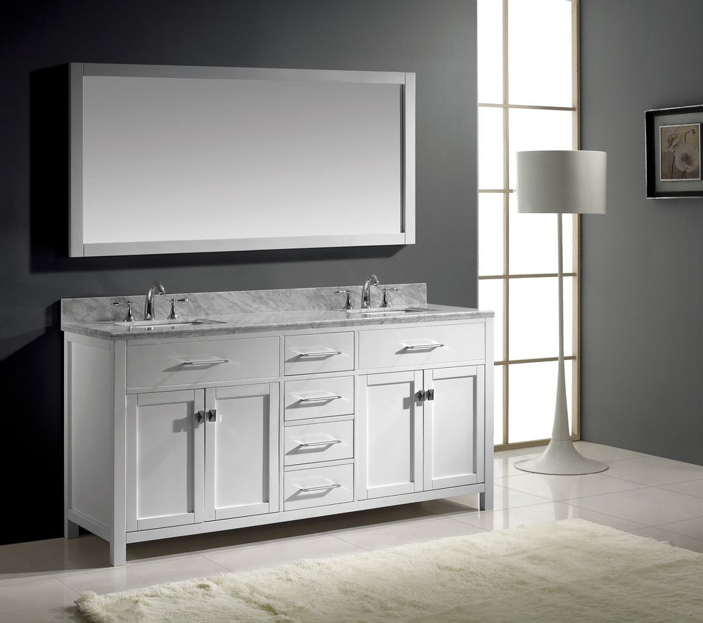 Rectangular white hardwood framed wall mirror mixed dark gray wall color with framed mirrors for bathroom