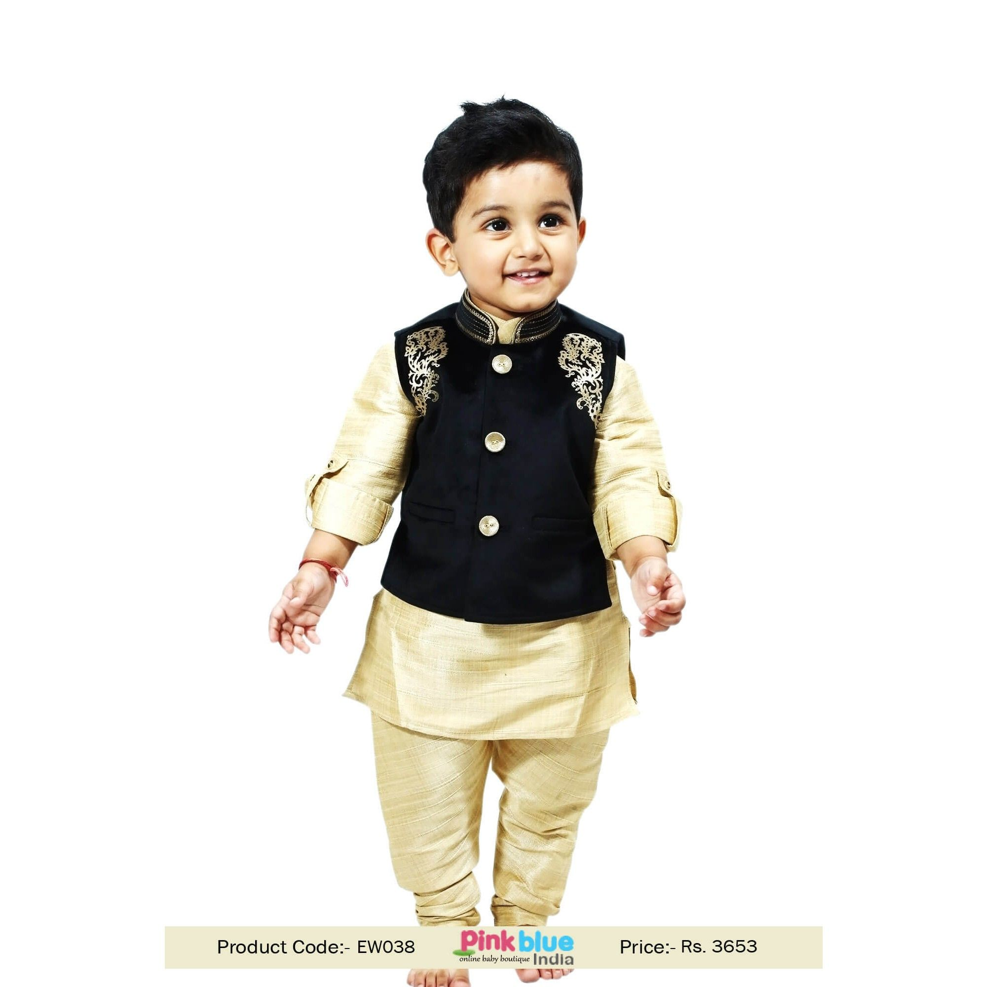 Kids Designer Wedding Kurta Pajama Set with Velvet Modi