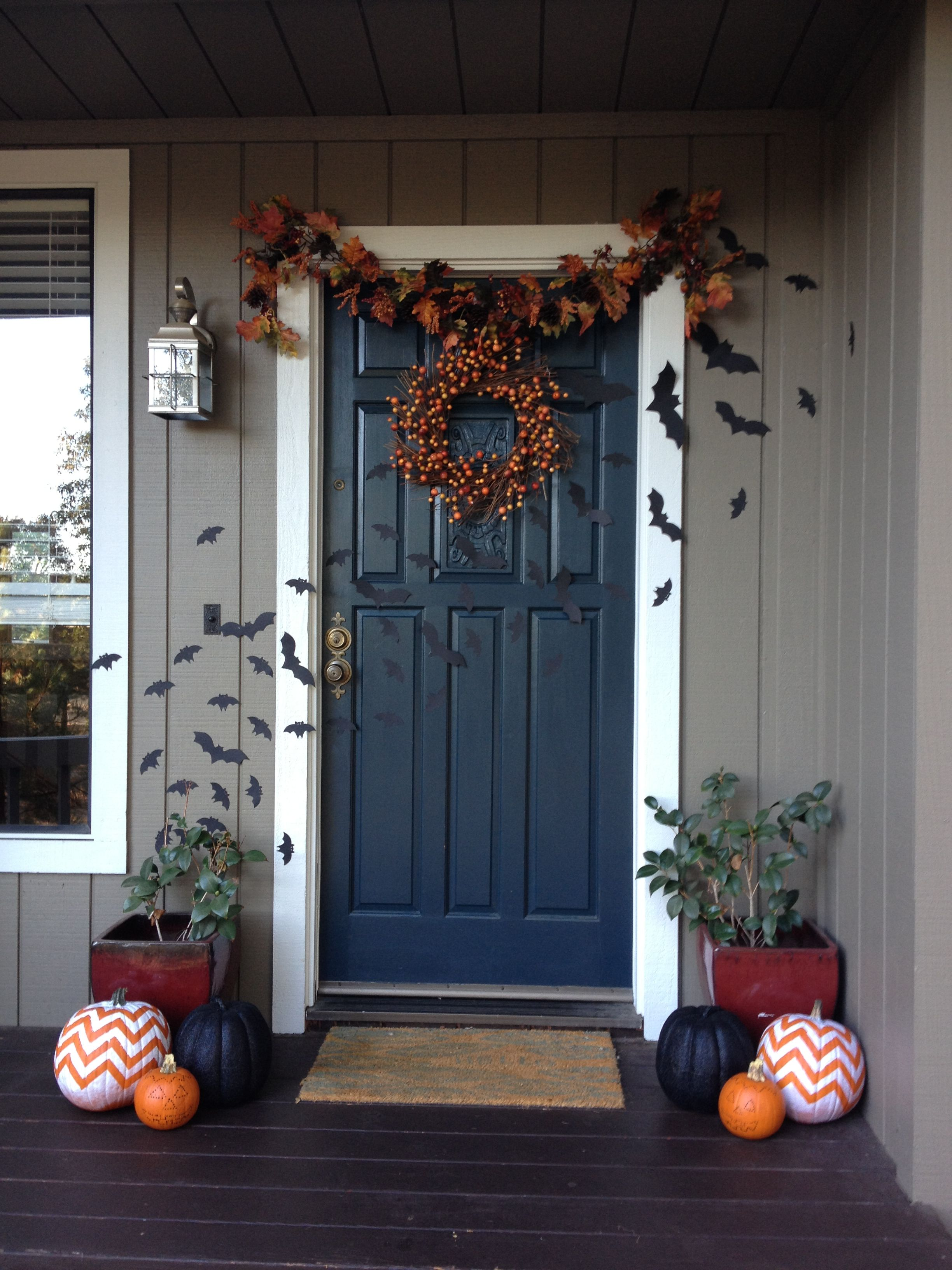 My Halloween door 2012- love the color! For my tudor home - pinterest halloween door decor