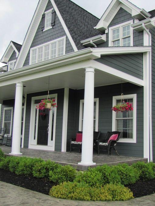 Exterior, charcoal gray , Home Exterior Design, James Hardie Iron