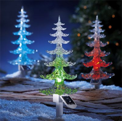 Shine The Walkway With Color Changing Christmas Tree Stake Lights Solar Christmas Lights Solar Christmas Tree Christmas Lights