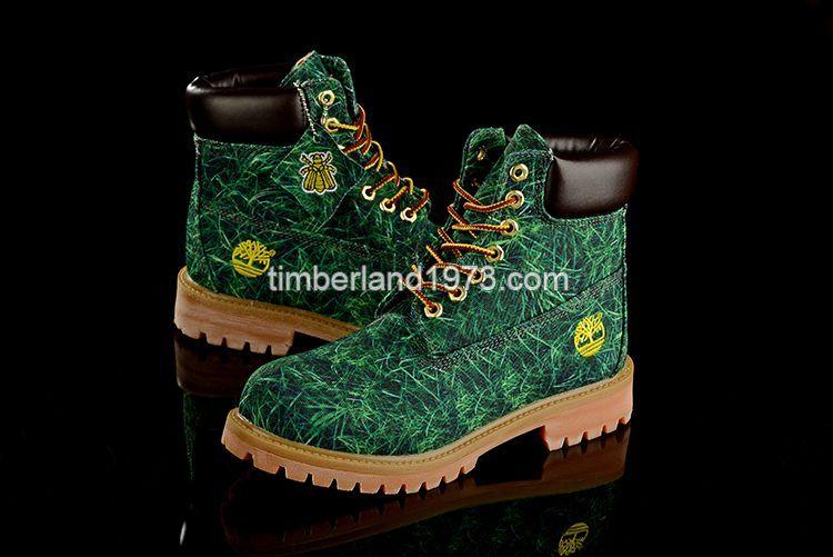 UK Bee Line Timberland Women 6 Inch Premium Fabric Boots Green Grass-Print £