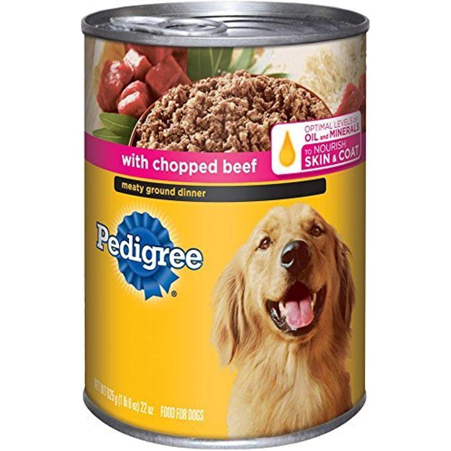Pedigree meaty ground dinner with chopped beef canned dog