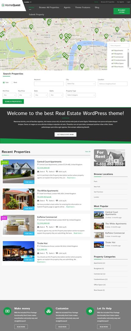HomeQuest WordPress Real Estate Directory Theme   Responsive ...