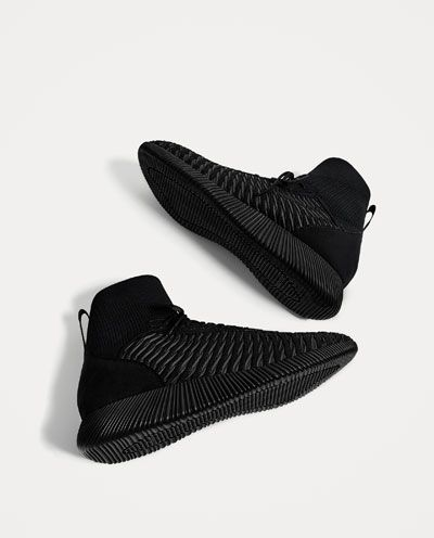 c67483378db27 Image 2 of LIGHTWEIGHT BLACK SOCK-STYLE SNEAKERS from Zara Black Sneakers,  Men's Sneakers