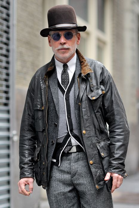 Nick Wooster wearing Black Leather Bomber Jacket, Grey Wool Blazer ...