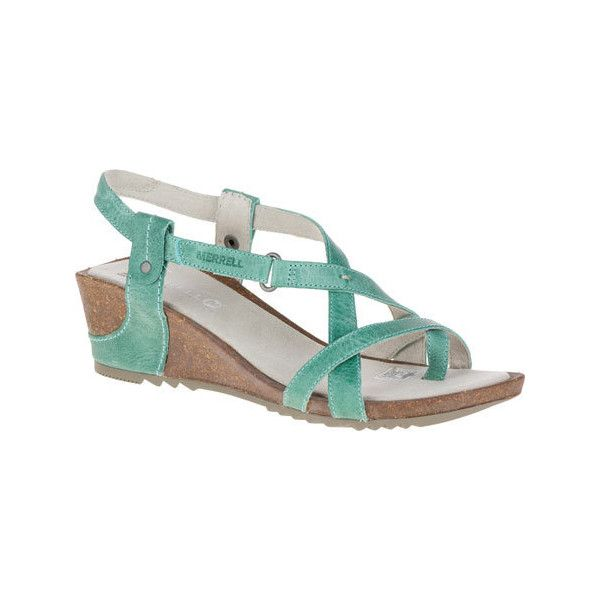 f00096d3467b Women s Merrell Revalli Aura Post Wedge Sandal - Jade Casual ( 110) ❤ liked  on Polyvore featuring shoes