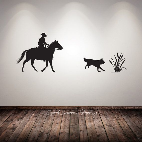 Cowboy Decal Western Wall Decal Horse Dog Cattails Range Ranch