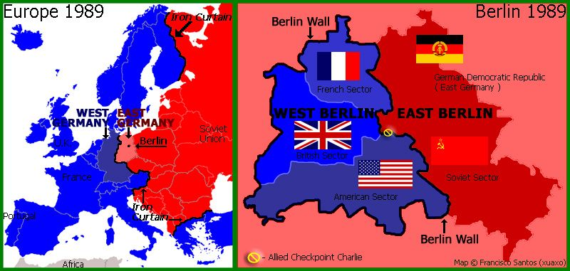 Cold War Map Of Europe And Berlin In 1989 The Cold War Pinterest