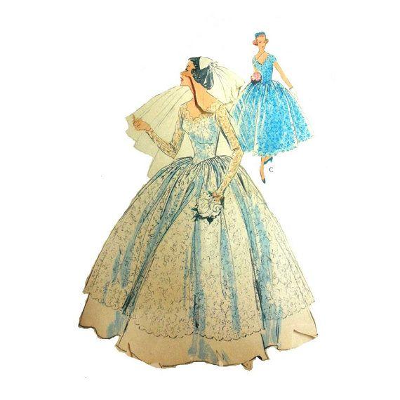 Vintage 60's Scallop Neckline, Basque Waistline Wedding Gown, Bridesmaid Dress…