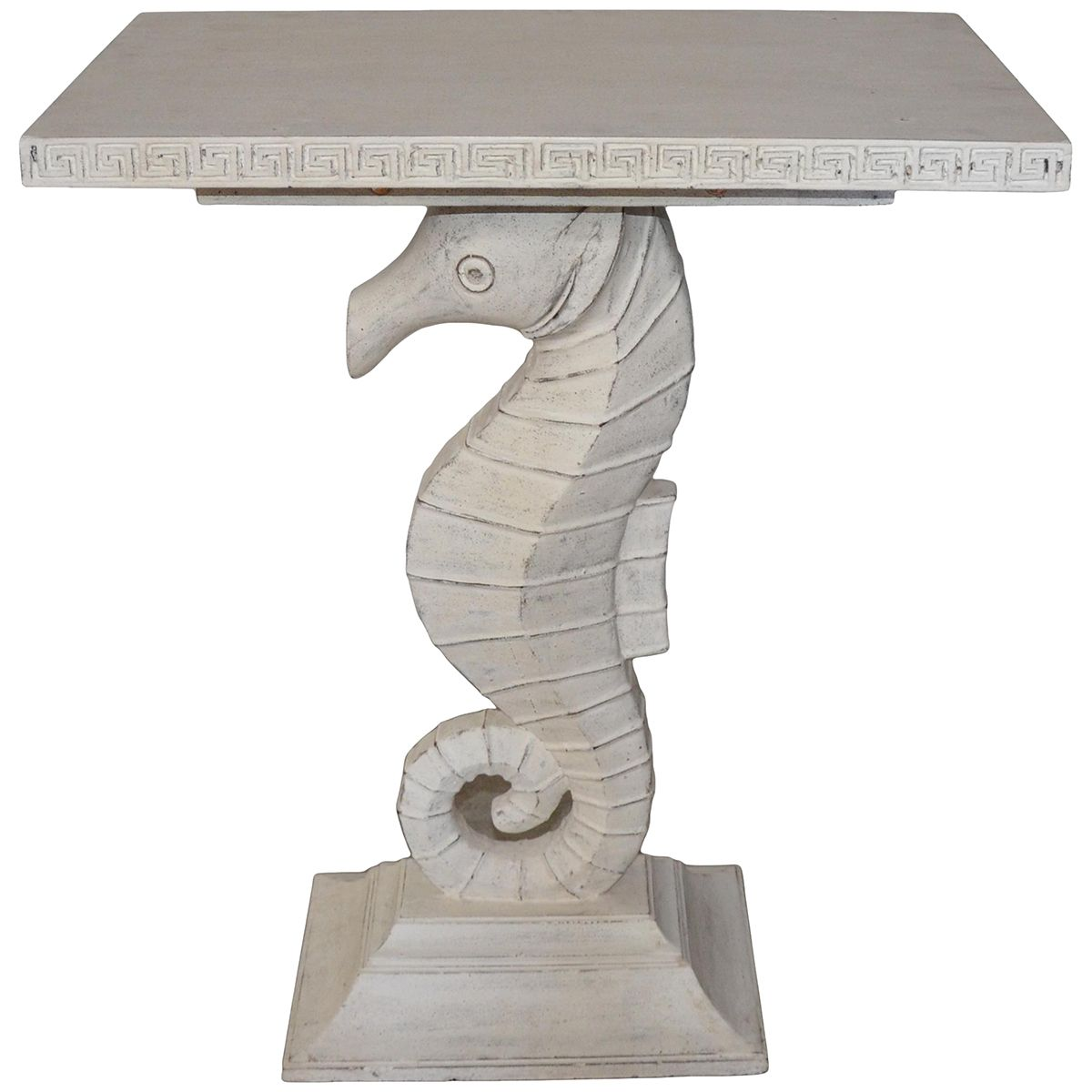 Noir Seahorse Side Table White Weathered GTAB274WW