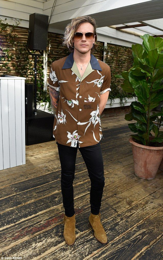 2f1a54d7 Rocking' out in style: Dougie Poynter rocked a cool Hawaiian shirt for the  bash