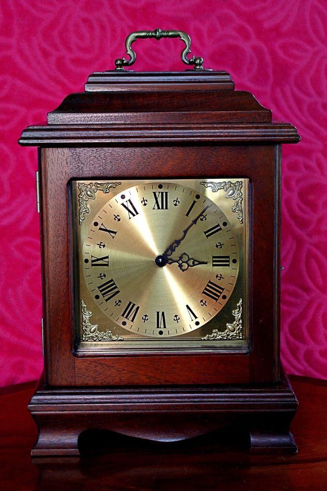 Vintage German Quartz Mahogany Case Mantel Clock With