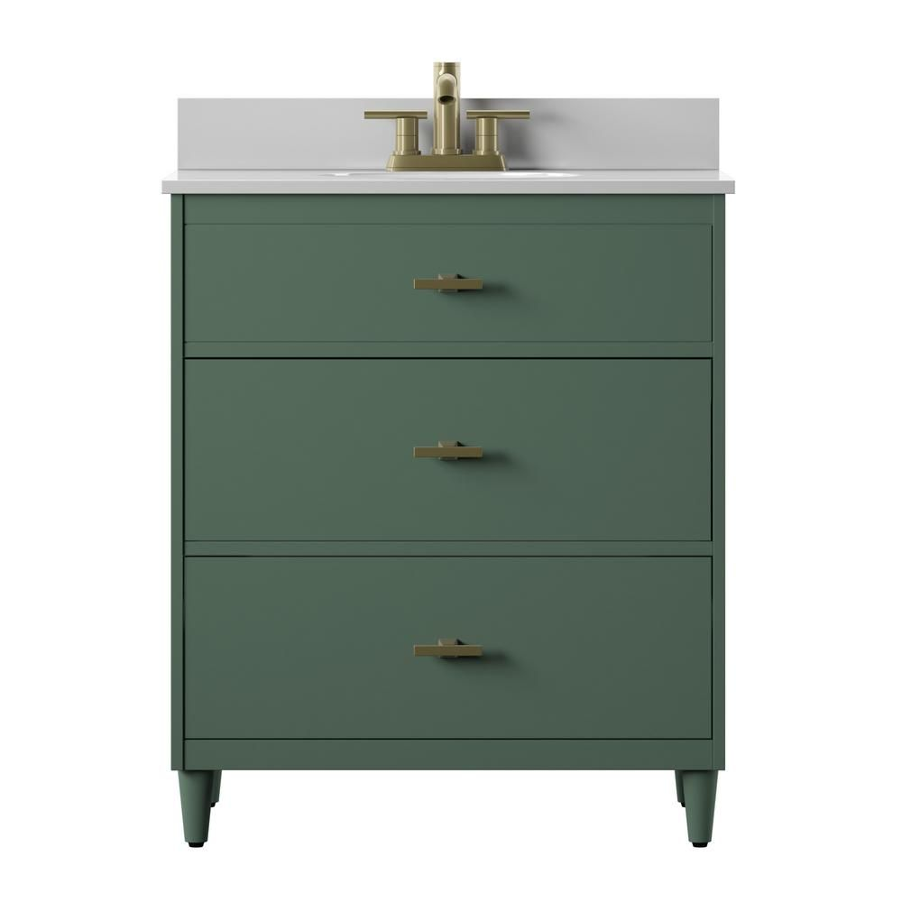 Twin Star Home Mid Century 30 In Bath Vanity With Drawers In Kale With Stone White Vanity Top And White Basin 30bv581 Pf01 The Home Depot Vanity Vanity Top White Vanity