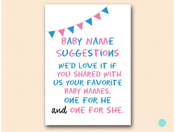 baby name suggestion sign gender reveal sign boy or girl baby