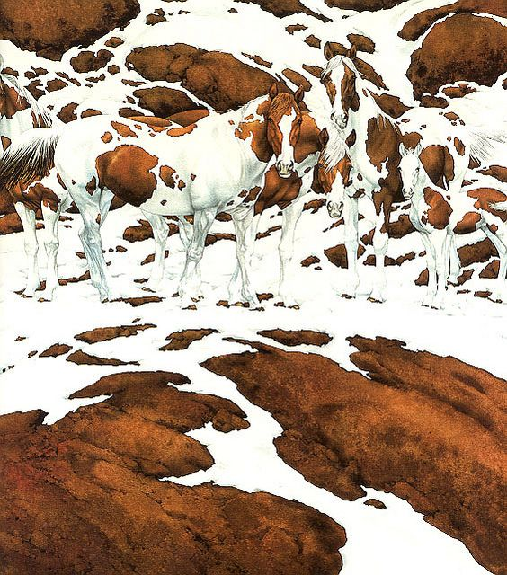 "Bev Doolittle ""Pintos"" c.2000 Bev Doolittle [American Painter and Printmaker, born in 1947] A contemporary example of the ""fade-away"" style used in Mrs. Doolittle's optical illusion-based paintings. She is often called a ""camouflage artist."" She says ""I use camouflage to slow down the storytelling in a painting. But my messages about our wilderness and native peoples are never hidden."""